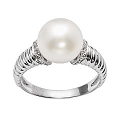 PearLustre by Imperial Sterling Silver Freshwater Cultured Pearl & Diamond Accent Ring