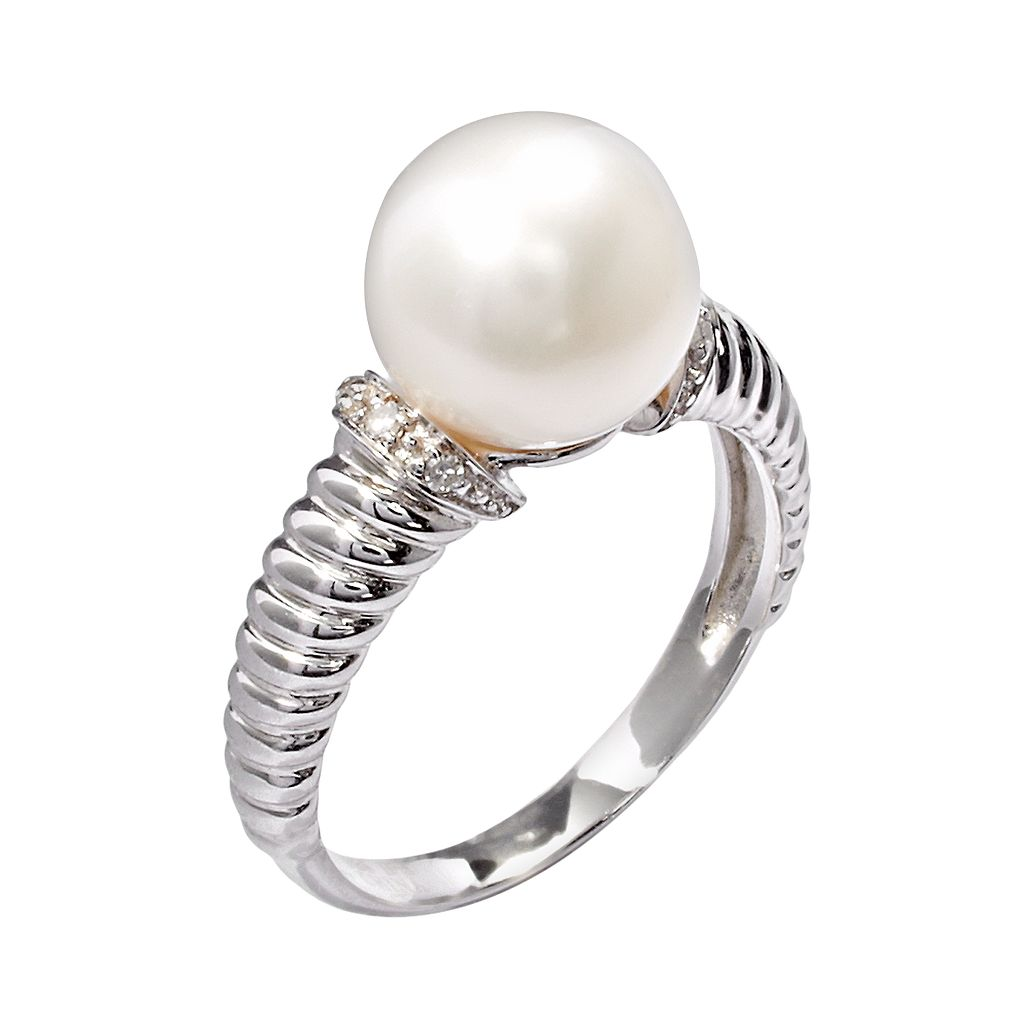 PearLustre by Imperial Sterling Silver Freshwater Cultured Pearl and Diamond Accent Ring