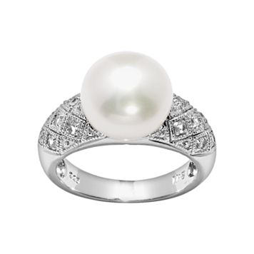 PearLustre by Imperial Sterling Silver Freshwater Cultured Pearl & White Topaz Ring