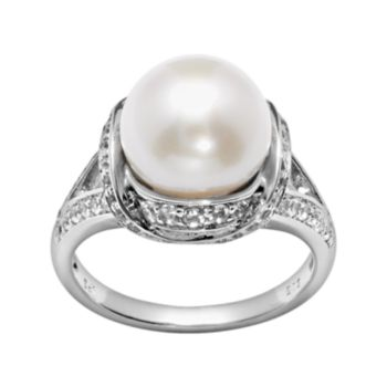 PearLustre by Imperial Sterling Silver Freshwater Cultured Pearl and White Topaz Ring