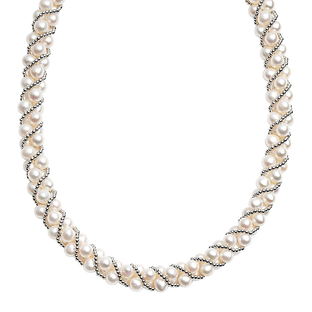 PearLustre by Imperial Sterling Silver Freshwater Cultured Pearl Twist Necklace