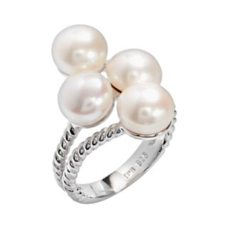 PearLustre by Imperial Sterling Silver Freshwater Cultured Pearl Cluster Ring