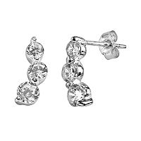 Sterling Silver Cubic Zirconia Journey Drop Earrings