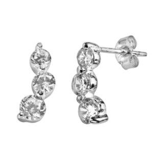 Sterling Silver Cubic Zirconia Journey Drop Earrings