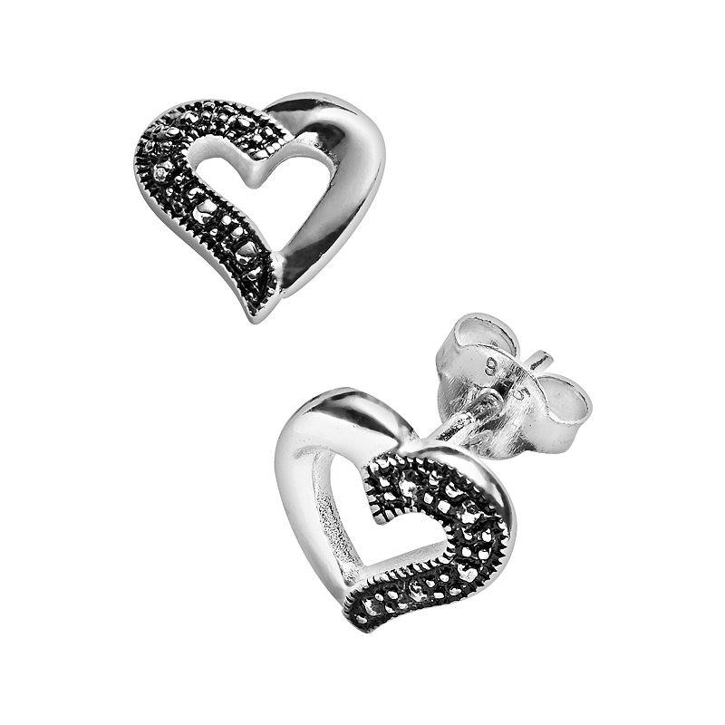 Sterling Silver Marcasite Heart Stud Earrings