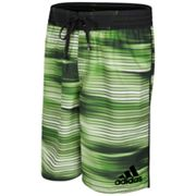 adidas Striped Microfiber Volley Swim Trunks