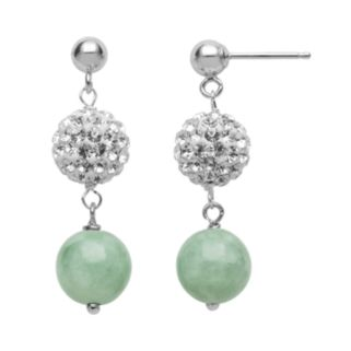 Sterling Silver Simulated Crystal and Jade Ball Linear Drop Earrings