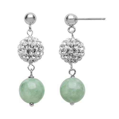 Sterling Silver Simulated Crystal & Jade Ball Linear Drop Earrings
