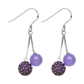 Sterling Silver Simulated Crystal and Lavender Jade Ball Drop Earrings