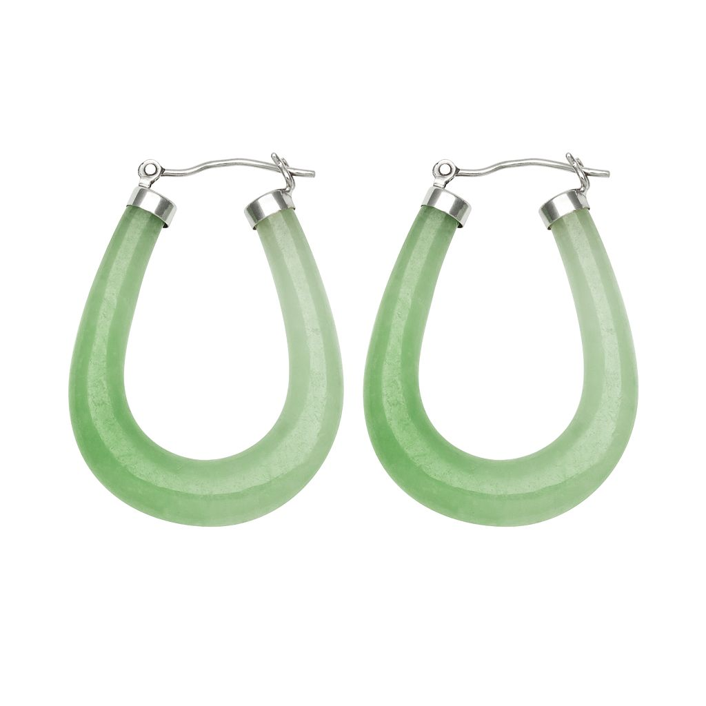 Sterling Silver Jade U-Hoop Earrings