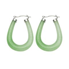 Sterling Silver Jade U-Hoop Earrings