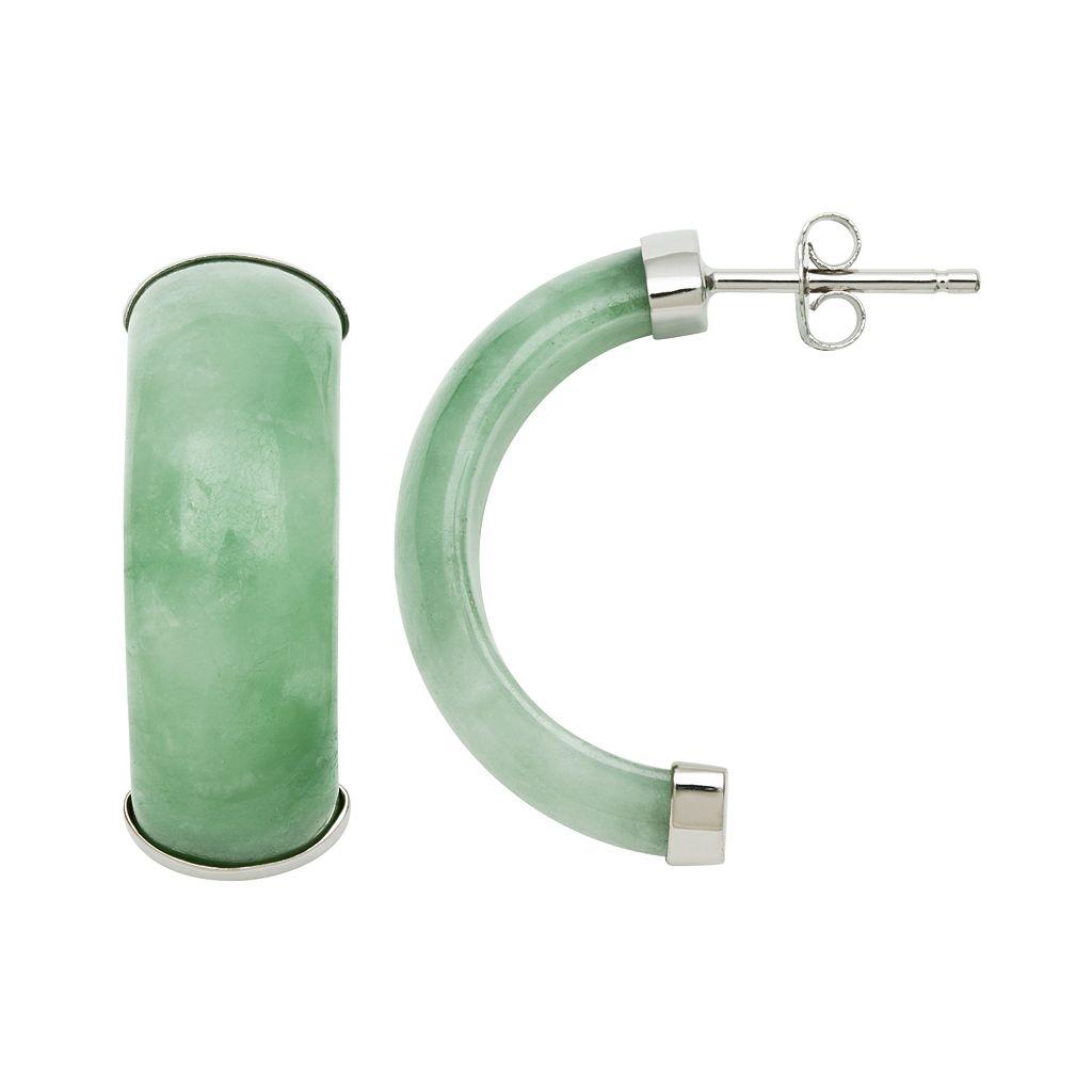 Sterling Silver Jade C-Hoop Earrings