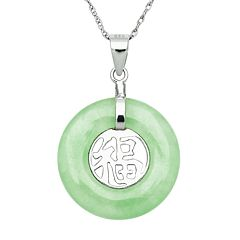 Sterling Silver Jade Luck Pendant