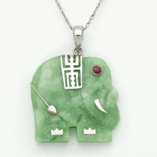 Sterling Silver Jade and Garnet Elephant Pendant