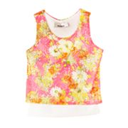 IZ Amy Byer Mock-Layer Floral Crochet Top - Girls 4-6x