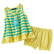 Chaps Striped Seashell Top and Shorts Set - Baby