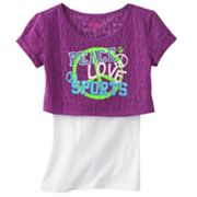 SO Peace Love Sports Crop Tee and Tank Set - Girls Plus