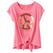 SO Peace Neon Tie-Front Tee - Girls 7-16