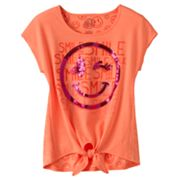 SO Smile Neon Tie-Front Tee - Girls 7-16