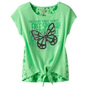 SO Free Spirit Butterfly Neon Tie-Front Tee - Girls 7-16