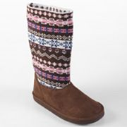 Journee Collection Peach Fairisle Sweater Boots - Girls