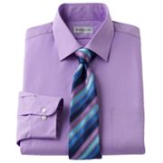 Van Heusen Classic-Fit Spread-Collar Dress Shirt and Striped Tie Boxed Set