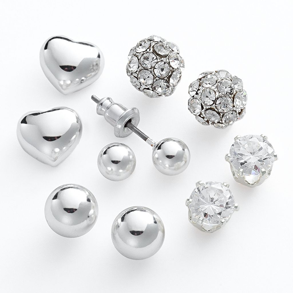 Silver Tone Cubic Zirconia Ball and Heart Stud Earring Set