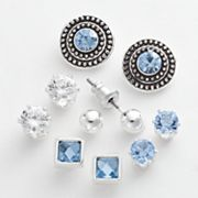 Croft and Barrow Silver Tone Cubic Zirconia Stud Earring Set