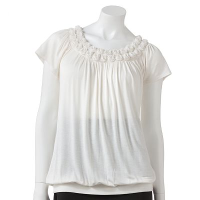 ELLE Shirred Rosette Top