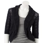 ELLE Scallop-Trim Lurex Crop Cardigan
