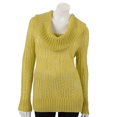 ELLE Lurex Pointelle Cowlneck Sweater