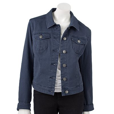 ELLE Polka-Dot Denim Jacket