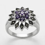 Silver Plated Cubic Zirconia and Marcasite Flower Ring