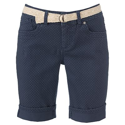 ELLE Polka-Dot Color Denim Bermuda Shorts