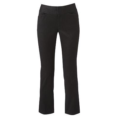 ELLE Jacquard Slim Straight-Leg Crop Pants
