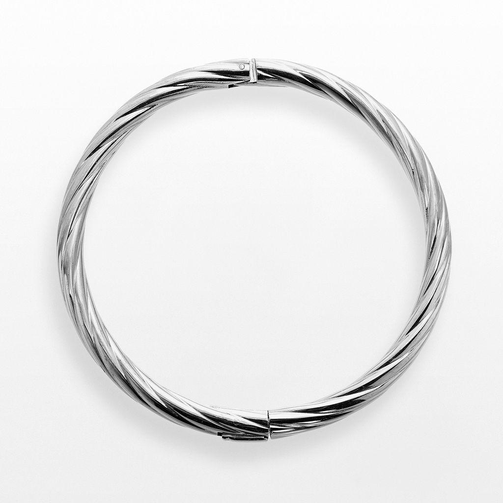 Stainless Steel Textured Bangle Bracelet