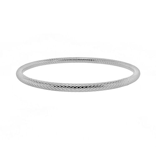 Stainless Steel Textured Bangle Bracelet