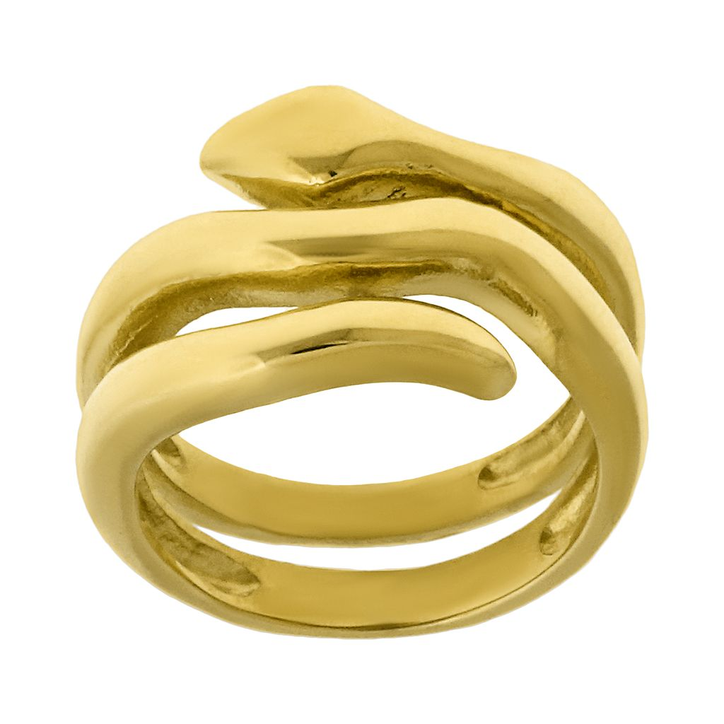 Gold Tone Stainless Steel Snake Ring