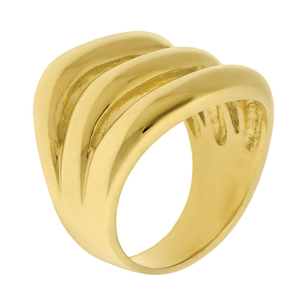 Gold Tone Stainless Steel Openwork Ring