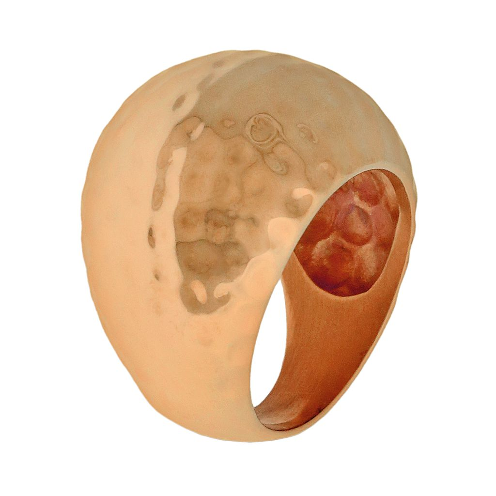 Rose Gold Tone Stainless Steel Hammered Ring