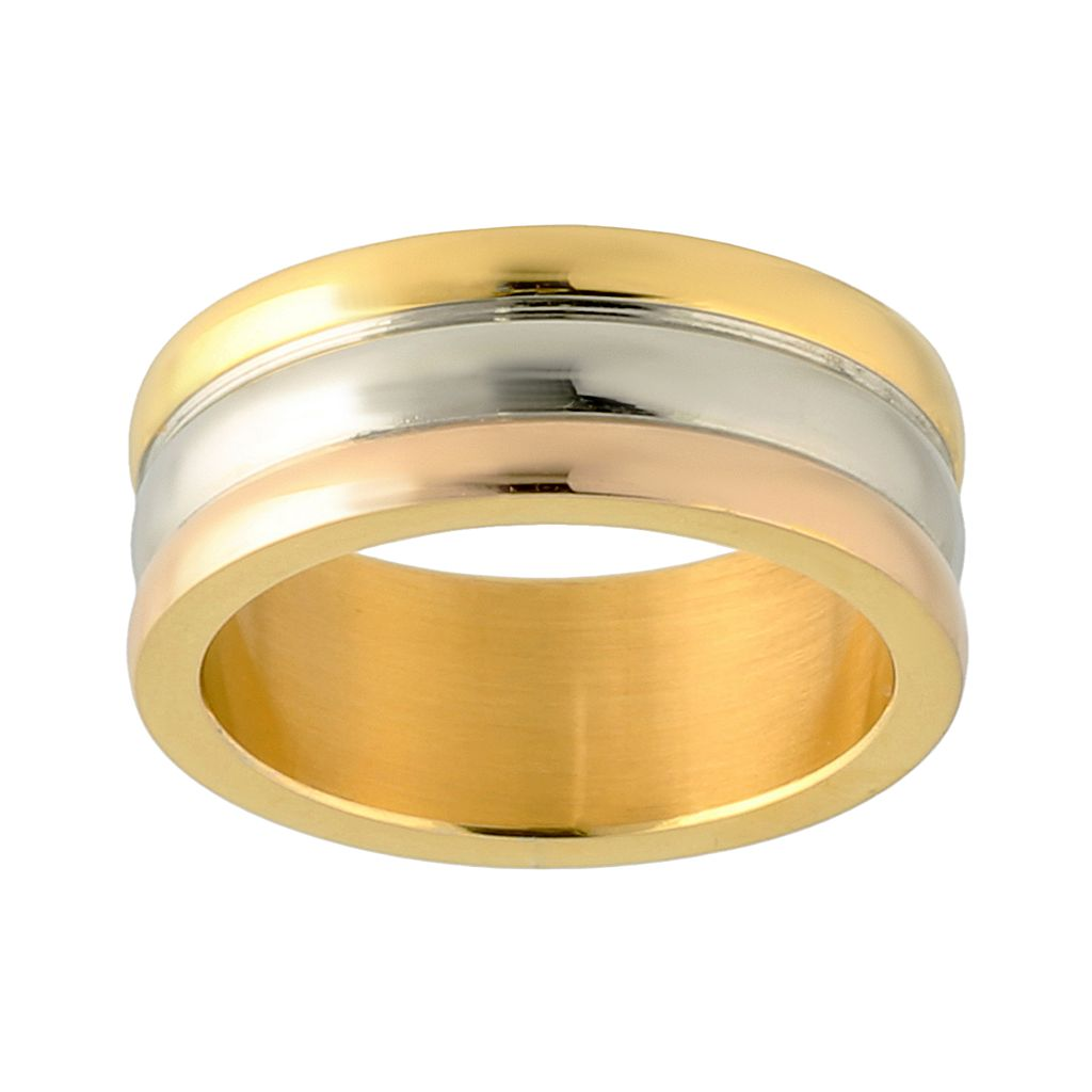 Stainless Steel Tri-Tone Ring