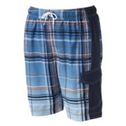 SONOMA life + style Ombre Plaid Swim Trunks