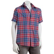 SONOMA life + style 2-in-1 Plaid Casual Button-Front Shirt