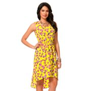 daisy fuentes Floral Hi-Low Dress - Petite