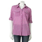 Croft and Barrow Plaid Pucker Shirt - Petite