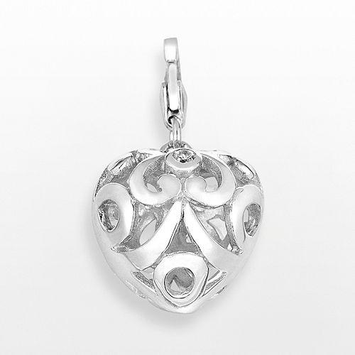 Sterling Silver White Topaz Openwork Heart Charm