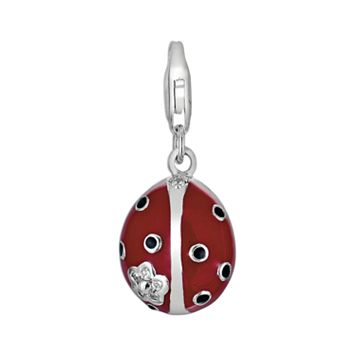 Sterling Silver White Topaz Ladybug Charm