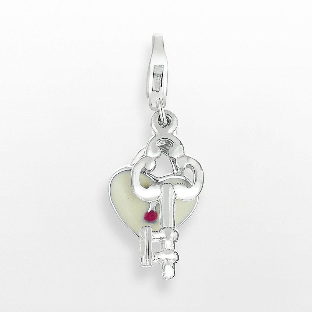 Sterling Silver Heart Lock & Key Charm