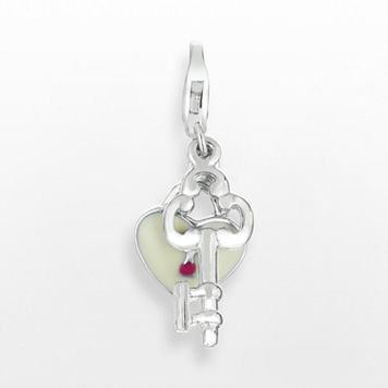 Sterling Silver Heart Lock & Key Charm