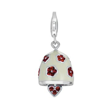 Sterling Silver Crystal Heart & Flower Bell Charm